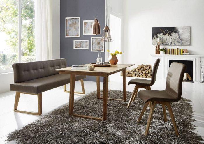 Exklusive Sitzbankgruppe aus Leder und Massivholz